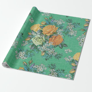 vintage elegant flowers floral theme pattern wrapping paper