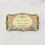 """Vintage, Elegant French Country Business Card<br><div class=""""desc"""">Vintage, Elegant French Country Business Card. Beautiful vintage calling card with pink and red Roses. Queen Victoria opened the door for women of the United Kingdom to take part in a new form of social life in the late 1800&#39;s. The Victorian era introduced the calling card, a form of communication...</div>"""