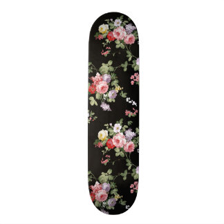 Vintage Elegant Girly Pink Red Trendy Roses Floral Skateboard Deck