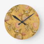 Vintage elegant  gold victorian bird pattern round wall clocks