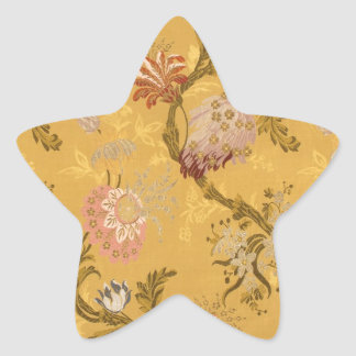 Vintage elegant  gold victorian bird pattern star sticker
