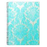 vintage elegant hipster gold turquoise damask chic notebook