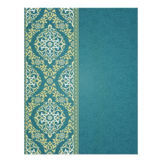 Vintage,elegant,hunter green,damask,antique,chic, letterhead