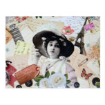 Vintage elegant lady with hat, roses and letters post card