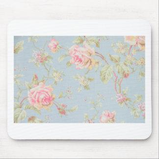 vintage elegant , light blue, pink, roses pattern mouse pad