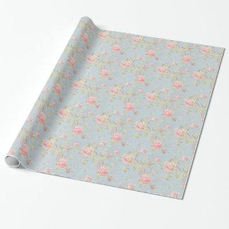 vintage elegant , light blue, pink, roses pattern wrapping paper