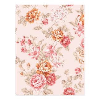 vintage elegant , light peach, pink, roses pattern postcard