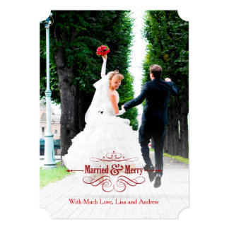 Vintage Elegant Married and Merry Holiday Card