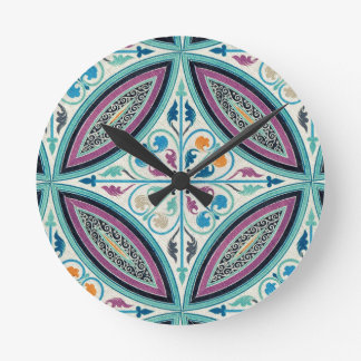 Vintage Elegant Moyen Age Medieval Graphic Design Round Clock