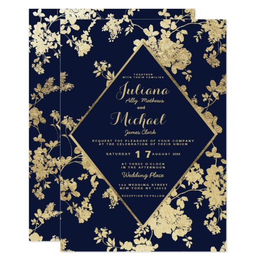 Vintage Elegant Navy Blue Faux Gold Floral Wedding