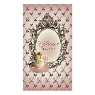 vintage elegant pink cupcakes fashion bakery business card