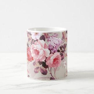 Vintage Elegant Pink Red Purple Roses Pattern Classic White Coffee Mug