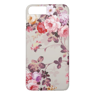 Vintage Elegant Pink Red Purple Roses Pattern iPhone 7 Plus Case