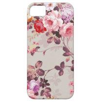 Vintage Elegant Pink Red Purple Roses Pattern iPhone SE/5/5s Case