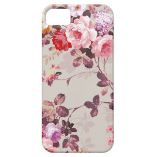 Vintage Elegant Pink Red Purple Roses Pattern iPhone SE/5/5s Case