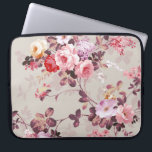 """Vintage Elegant Pink Red Purple Roses Pattern Laptop Sleeve<br><div class=""""desc"""">Vintage cute girly colorful pink red purple and white roses .A elegant floral design on teal brown background .The perfect romantic gift idea for her on any occasion</div>"""