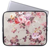 Vintage Elegant Pink Red Purple Roses Pattern Laptop Sleeve