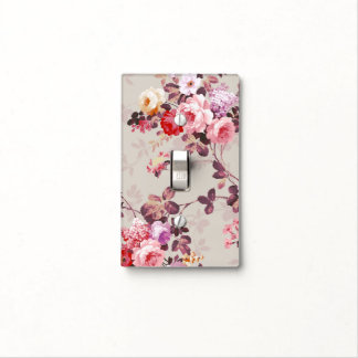 Vintage Elegant Pink Red Purple Roses Pattern Light Switch Cover
