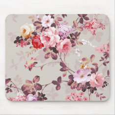 Vintage Elegant Pink Red Purple Roses Pattern Mouse Pad at Zazzle