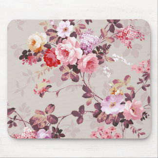 Vintage Elegant Pink Red Purple Roses Pattern Mouse Pad