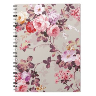 Vintage Elegant Pink Red Purple Roses Pattern Notebook