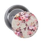 Vintage Elegant Pink Red Purple Roses Pattern Pinback Button