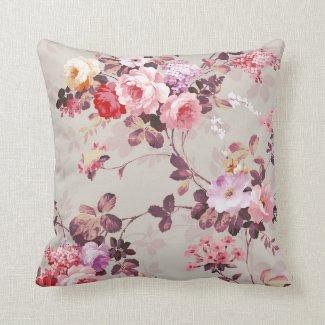 vintage elegant pink red purple roses pattern throw pillow