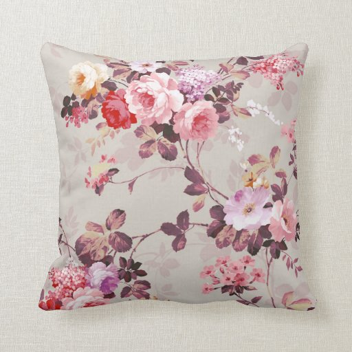Pink Purple Decorative Pillows : Vintage Elegant Pink Red Purple Roses Pattern Throw Pillow Zazzle