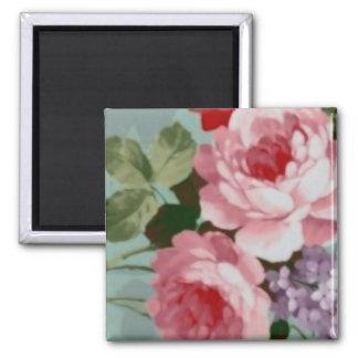 Vintage Elegant Pink Red Roses 2 Inch Square Magnet