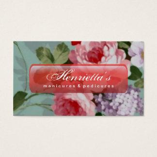 Vintage Elegant Pink Red Roses Business Card