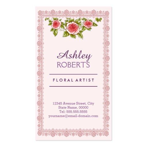 Vintage Elegant Pink Red Roses Frame - Chic Business Card Templates (front side)