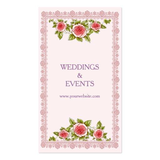 Vintage Elegant Pink Red Roses Frame - Chic Business Card Templates (back side)