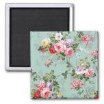 Vintage Elegant Pink Red Roses Pattern 2 Inch Square Magnet