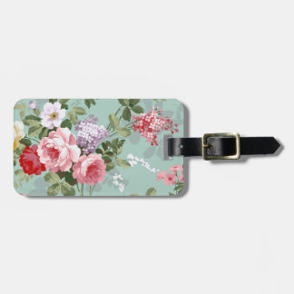 Vintage Elegant Pink Red Roses Pattern Bag Tag