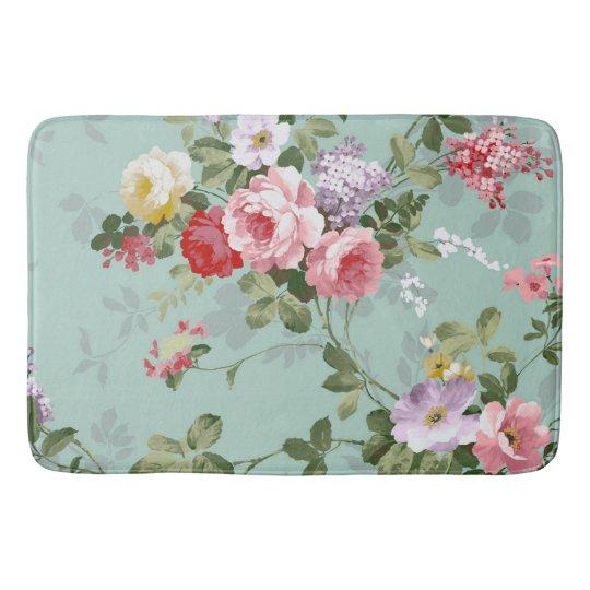 Elegant Bathroom Rose: Vintage Elegant Pink Red Roses Pattern Bathroom Mat