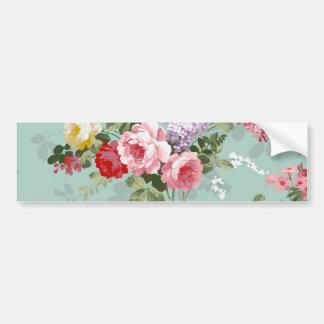 Vintage Elegant Pink Red Roses Pattern Bumper Sticker