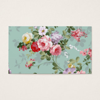 Vintage Elegant Pink Red Roses Pattern Business Card