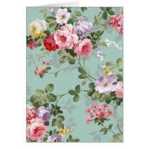 Vintage Elegant Pink Red Roses Pattern Card