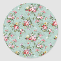 Vintage Elegant Pink Red Roses Pattern Classic Round Sticker