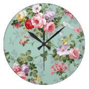 Vintage Elegant Pink Red Roses Pattern Blue Floral clock