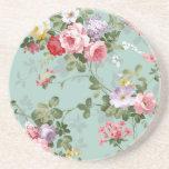 Vintage Elegant Pink Red Roses Pattern Coasters