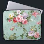 "Vintage Elegant Pink Red Roses Pattern Computer Sleeve<br><div class=""desc"">Vintage cute girly colorful pink red and white roses .A elegant floral design on teal green background .The perfect romantic gift idea for her on any occasion</div>"