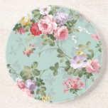 "Vintage Elegant Pink Red Roses Pattern Drink Coaster<br><div class=""desc"">Vintage cute girly colorful pink red and white roses .A elegant floral design on teal green background .The perfect romantic gift idea for her on any occasion</div>"