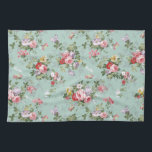 "Vintage Elegant Pink Red Roses Pattern Kitchen Towel<br><div class=""desc"">Vintage cute girly colorful pink red and white roses .A elegant floral design on teal green background .The perfect romantic gift idea for her on any occasion</div>"