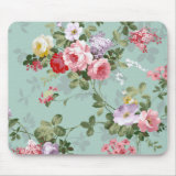 Vintage Elegant Pink and mint blue pastel vintage Roses Pattern Mousepad