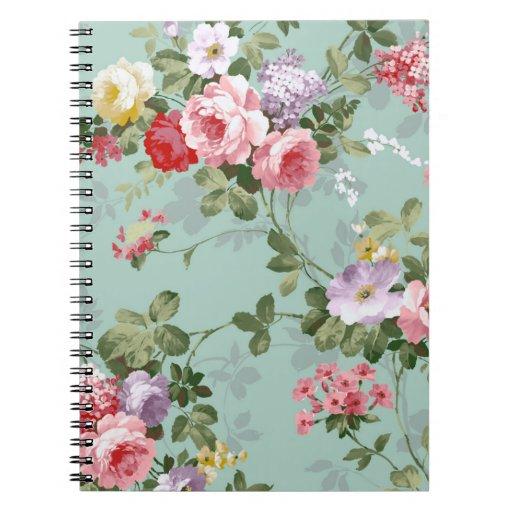 Vintage Elegant Pink Red Roses Pattern Notebooks