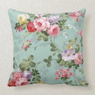 Vintage Elegant Pink Red Roses Pattern Throw Pillows