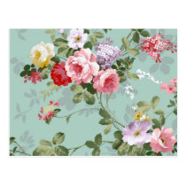 Vintage Elegant Pink Red Roses Pattern Postcard