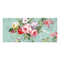 Vintage Elegant Pink Red Roses Pattern Rack Card