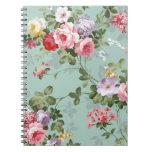 Vintage Elegant Pink Red Roses Pattern Spiral Notebook